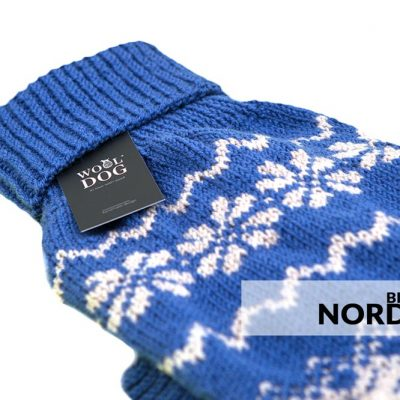 Wool dog nordic blue genser
